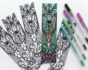 Caribou bookmark coloring bookmark