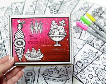 Box #18, My Mandala Break, GLACÉE CREAM, including 30 small-format colouring drawings every day