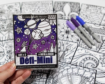 DEFI-MINI bag, LOT #2, 15 cardboard printed designs, 4x5-inch format, Minis #0016 to 0030