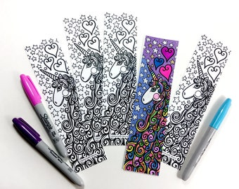 Unicorn, Unicorn bookmark coloring bookmark