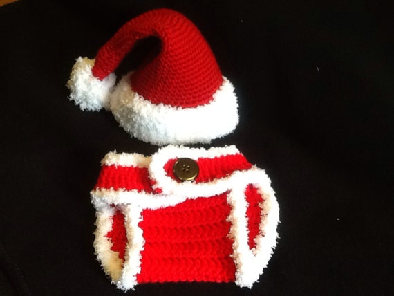 0eeeff237b9 Crochet Santa Hat and Diaper Cover