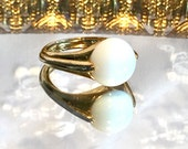 Vintage Trifari Gold Ring with White Cabachon Stone Adjustable Size 8 1/2 Size 9