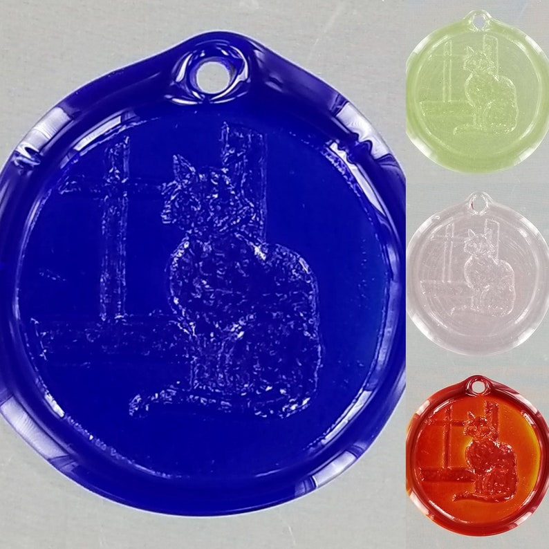 Red Cat in Window Suncatcher- Hand Stamped Recycled Glass Suncatcher- Various Colors- Cobalt Blue Light Pink Lime Green