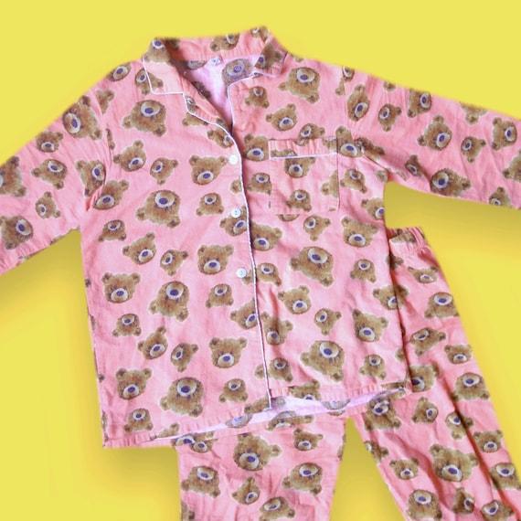 Teddy Pajamas Set 90s Pink Cute Kawaii Bear Design