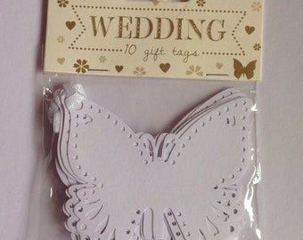 Wedding White Butterfly Gift Tags-10 per pack
