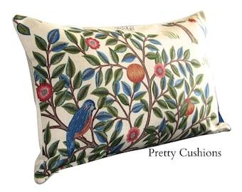 William Morris Kelmscott Tree Woad & Wine Bolster Cushion Cover