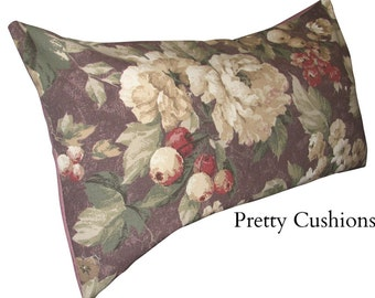 Vintage Antique Floral Purple Bolster Cushion Cover