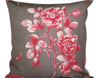 Sanderson Etchings & Roses Chocolate Cushion Cover