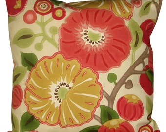 Sanderson Tree Poppy Tomato & Olive Cushion Cover