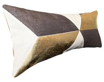 Pierre Frey Kubus Geometric Gold Bolster Cushion Cover