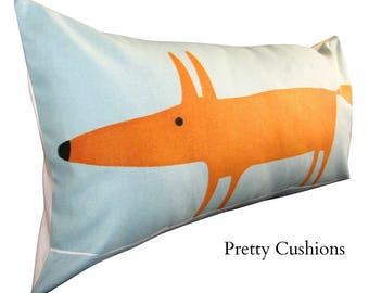Scion Mr Fox Blue Bolster Cushion Cover
