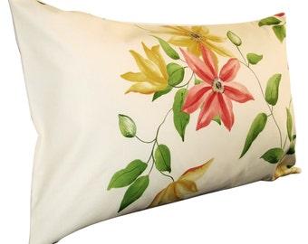 Sanderson Wisley Strawberry & Cream Bolster Cushion Cover