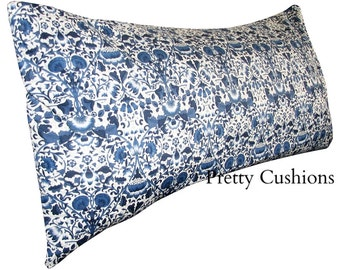 Liberty of London Lodden William Morris Navy Blue Bolster Cushion Cover