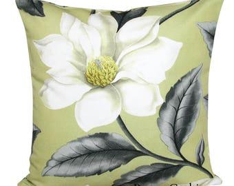 Sanderson Grandiflora Chartreuse & Steel Cushion Cover