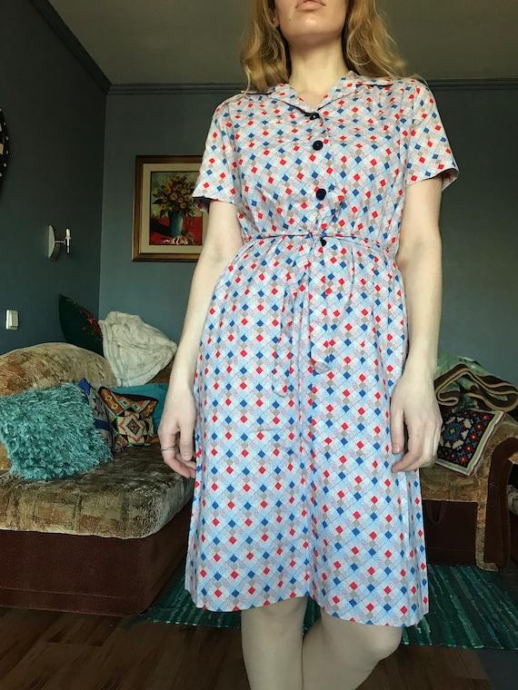 Vintage cotton summer shirt dress / Holiday dress… - image 2