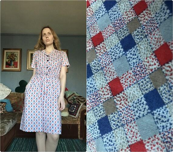 Vintage cotton summer shirt dress / Holiday dress