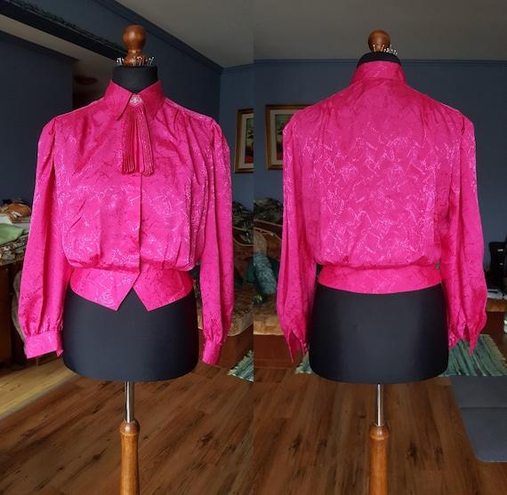 Vintage pink blouse / Long sleeve blouse / Secreta