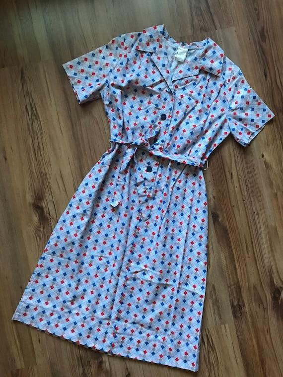 Vintage cotton summer shirt dress / Holiday dress… - image 3