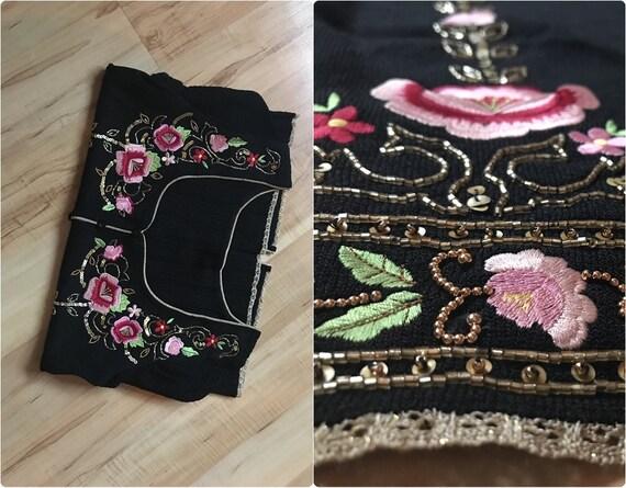 Vintage embroidered short sleeve cardigan / Floral