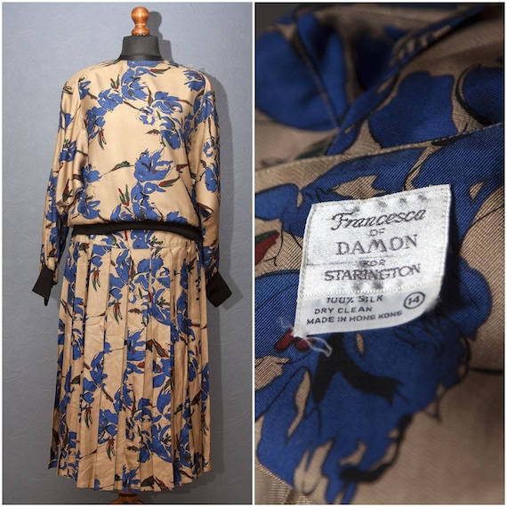 Vintage silk suit- costume / Two-piece set of silk