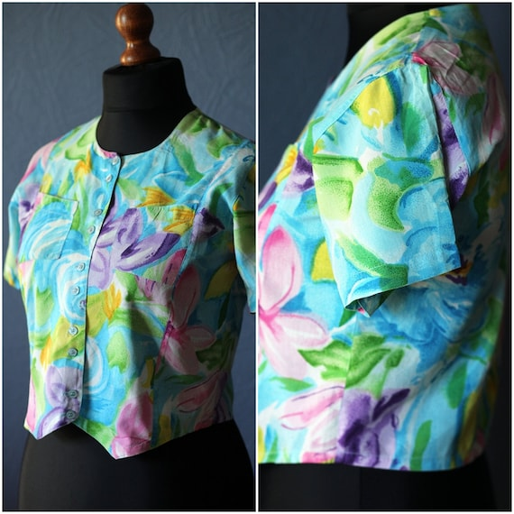 Vintage flowery summer blouse / Size S-M / 80s