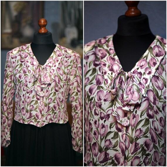 Vintage flowery blouse / S-M / 80s