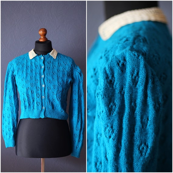 Vintage blue knitted cardigan - sveater / Puff sle