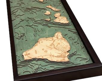 Hawaiian Islands Wood Carved Topographic Depth Chart / Map