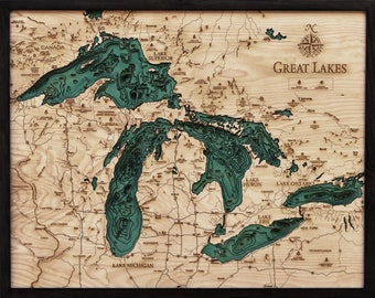Great lakes clock etsy great lakes maps clock cribbage pillow and serving tray gumiabroncs Choice Image
