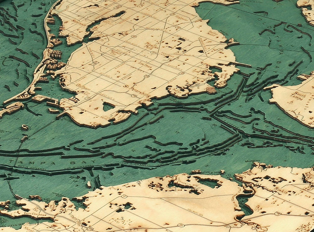 Tampa Topographic Map.Tampa Bay Wood Carved Topographic Depth Chart Map