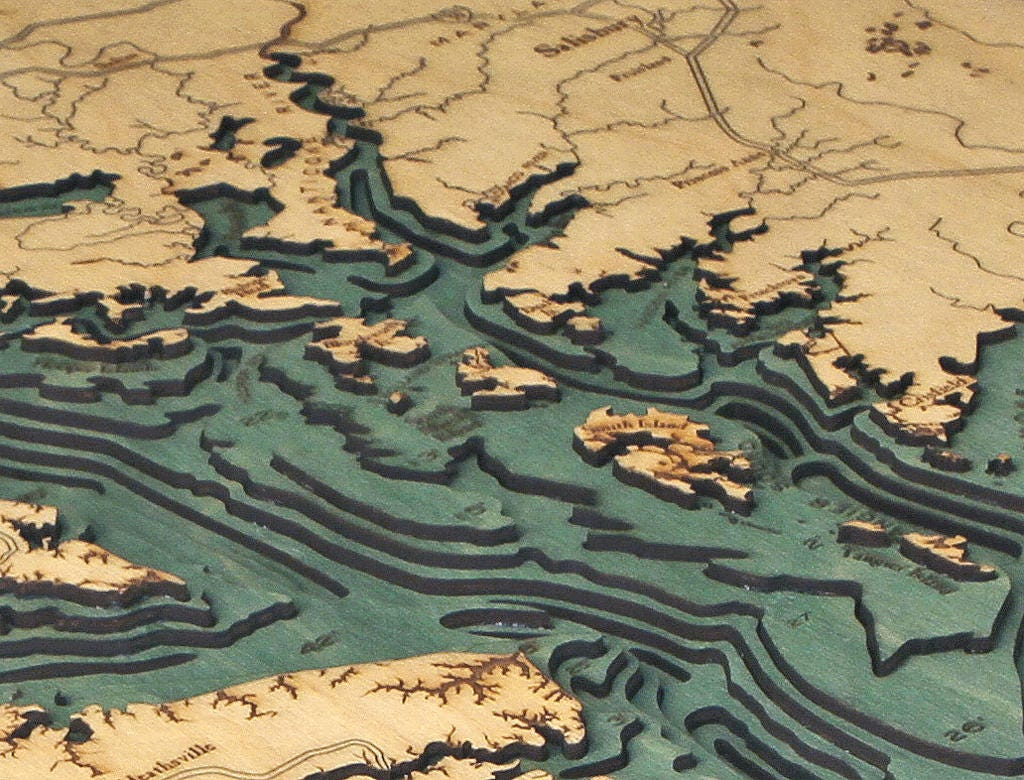 Chesapeake Bay Topographic Map.Chesapeake Bay Wood Carved Topographic Depth Chart Map