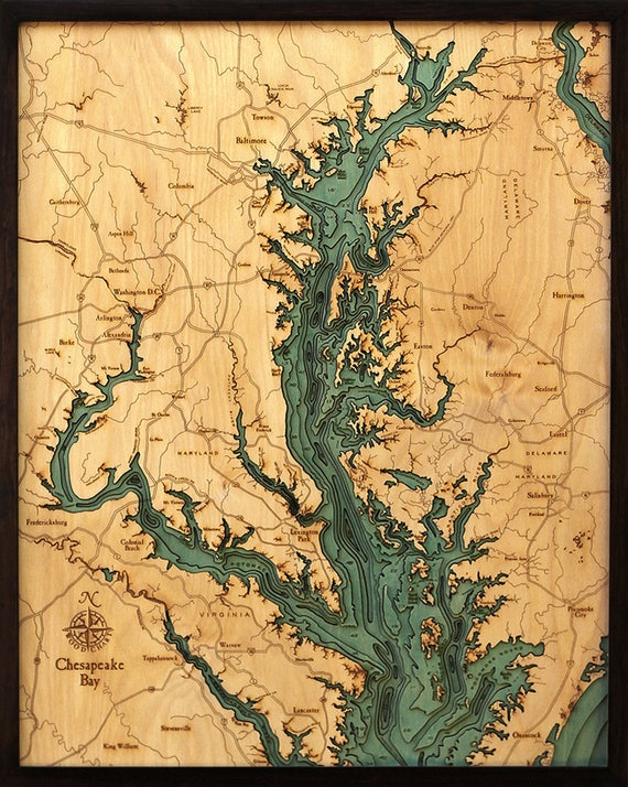 Chesapeake Bay Topographic Map.Chesapeake Bay Wood Carved Topographic Depth Chart Map Etsy