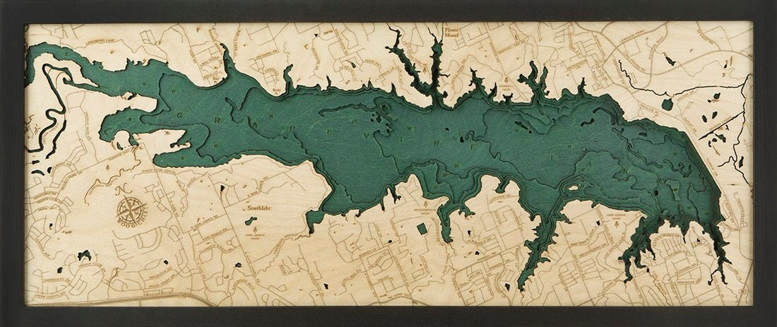 Grapevine Lake Tx Wood Carved Topographic Map