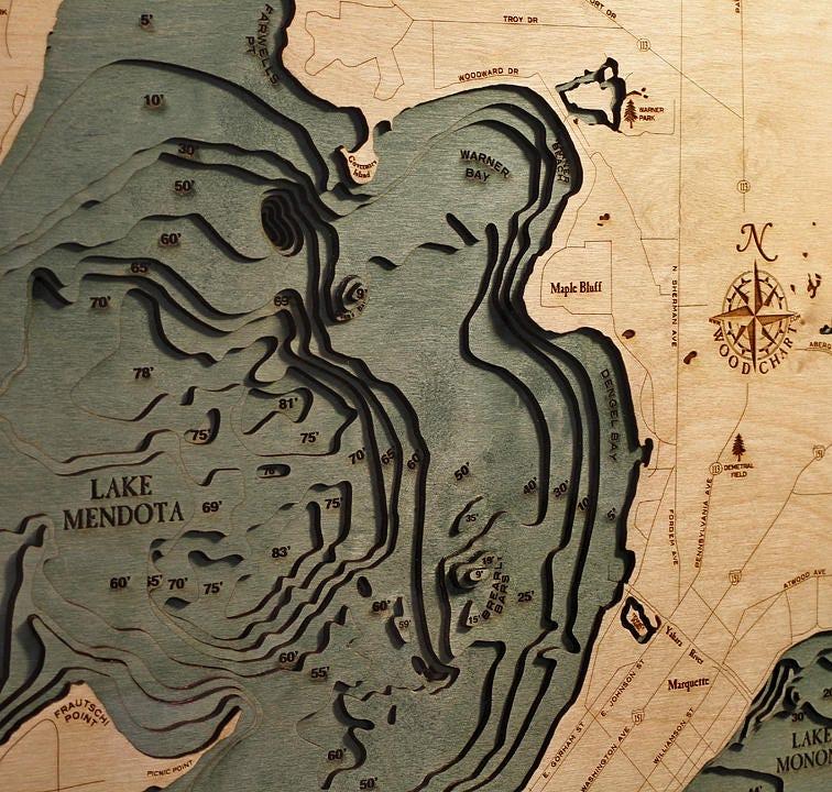 Lake mendota menona wi wood carved topographic depth chart map