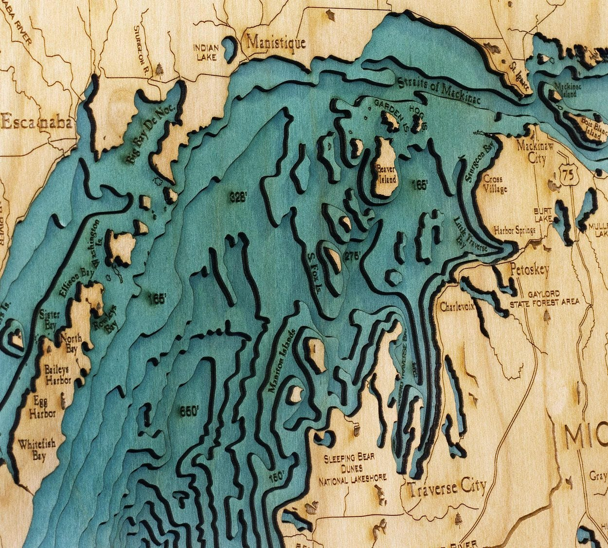 Great Lakes Wood Carved Topographical Depth Chart Map - Lake huron depth map