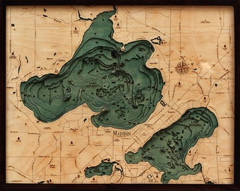 Lake Mendota & Menona, WI Wood Carved Topographic Depth Chart / Map