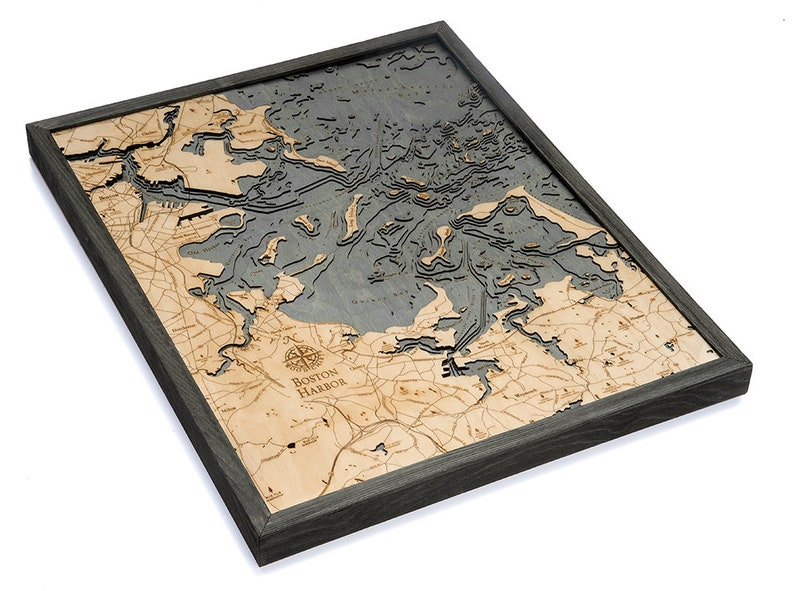 Boston Harbor Wood Carved Topographic Depth Chart / Map image 0