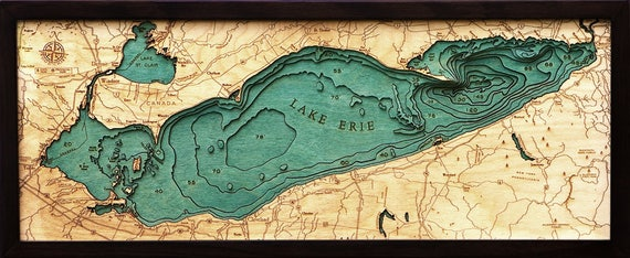 Lake Erie Wood Carved Topographic Depth Chart Map Etsy - Lake erie depth map free