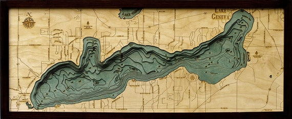 lake geneva il map Lake Geneva Wi Wood Carved Topographic Depth Chart Map Etsy lake geneva il map