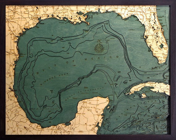 Gulf of Mexico Wood Carved Topographic Map