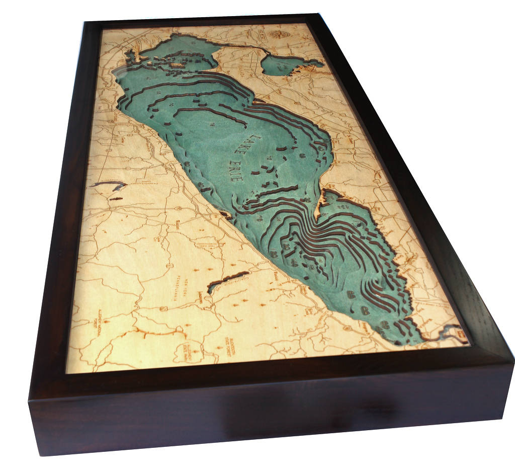 Lake Erie Wood Carved Topographic Depth Chart Map - Lake erie depth map free