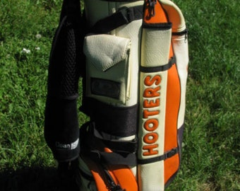 "HOOTERS BUSHWACKER  8"" Diameter Staff Light GOLF Bag Belding Sport Carry Cart Orange  country club bar quality golfing Logo"