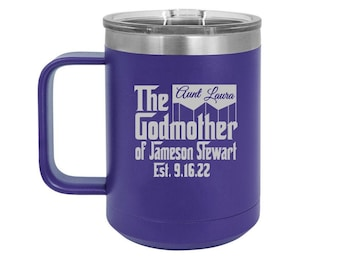 Godmother Proposal Gift, Personalized Coffee Mug, Insulated Travel Coffee Mug, Personalized Godmother Gift, Godmother Coffee Cup