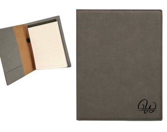 "Personalized Junior Gray Leatherette Portfolio 7"" x 9"" Engraved Free Padfolio Personalized Note Pad Holder"