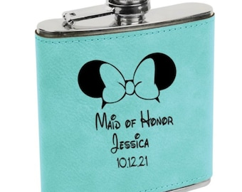 Personalized Flask Disney Inspired Teal Leatherette Engraved Maid of Honor, Bridesmaid, Matron of Honor, Best Woman