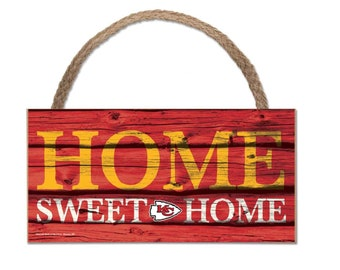 """Kansas City Chiefs Wood Sign w/Rope 5"""" x 10"""", Licensed KC Chiefs, Super Bowl Champions"""