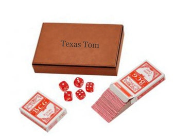Personalized Poker Gift Set, Card and Dice Set, Engraved Carmel Leatherette Box, Gift For Poker Player
