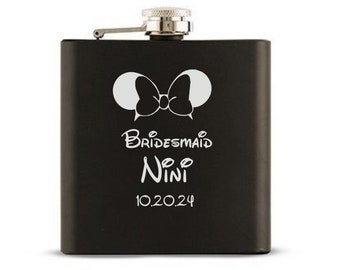 Personalized Flask, Disney Inspired, Black Flask, Disney Wedding, Maid of Honor, Bridesmaid, Matron of Honor, Best Woman