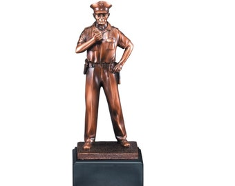 Policeman Award, Simulated Bronze Policeman Statue, Emergency Response Git, Personalized Police Gift