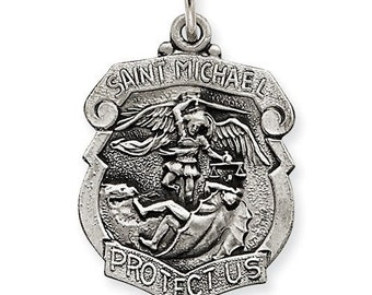 St. Michael Police Badge PENDANT ONLY, Sterling Silver Patron Saint, Personalized St. Michael Pendant Engraved Free